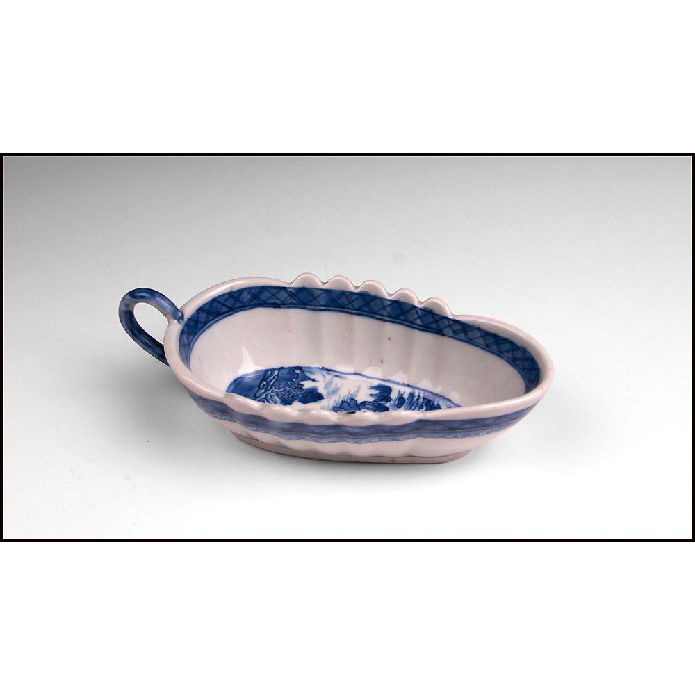 Late 18th C. Nanking Porcelain Low Scalloped Gravy Dish