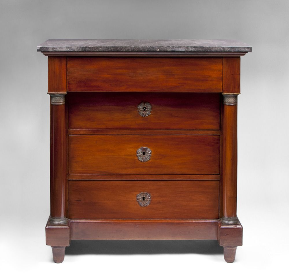 19th C. French Empire Commode or Chest With Black Marble Top