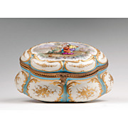 19th C. Sevres Style Paris Porcelain Jewelry Casket Mounted In Ormolu