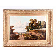 REDUCED 19th C. English Pastoral Oil Painting On Canvas By B. Cook