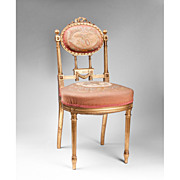 19th C. Louis XVI Giltwood Needlepoint Side Chair