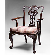 19th C. Mahogany Ribbon Carved Chippendale Armchair