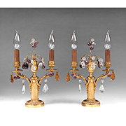French Empire Double Arm Bronze Candlesticks, With Prisms