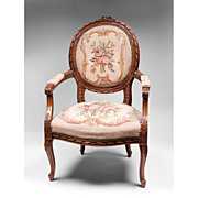 Ribbon Carved Louis XV Fauteuil or Armchair, Needlepoint Tapestry