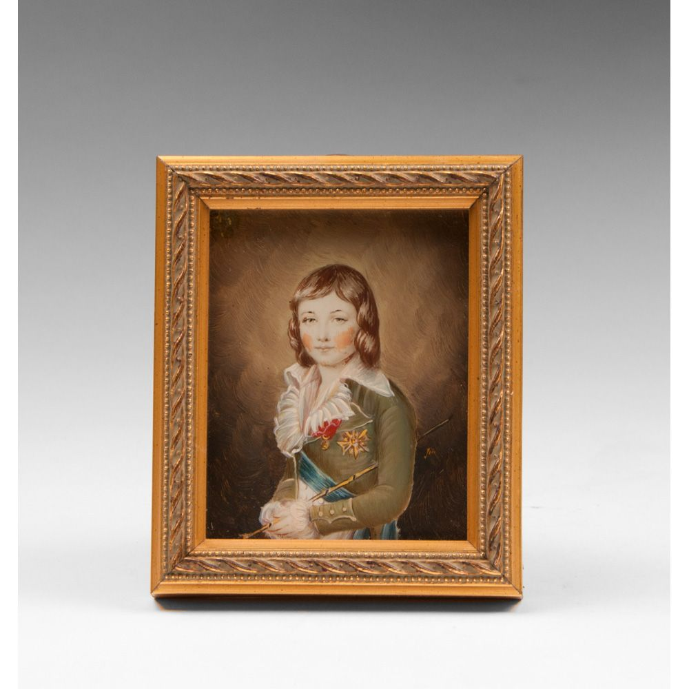 19th C. Miniature Enamel On Copper Louis XVII After Kucharsky