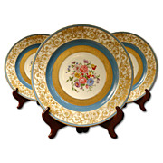 Set of 5 Hand Painted Limoges Service Plates