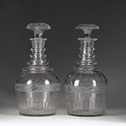 Matching Pair of Georgian, 1820-30, Barrel Cut Decanters