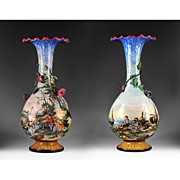 Pr. of 19th C. Majolica Trumpet Urns Painted by Mollica Of Naples