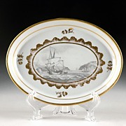 Miles Mason Porcelain Tray with Bat Printed Nautical Scene, 1805-10