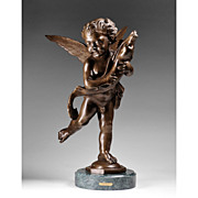 Cherub With A Dolphin, Bronze Sculpture, After Moreau