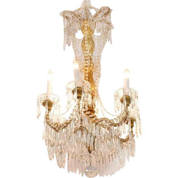 Venetian 6 Light Hand Carved Giltwood and Crystal Chandelier