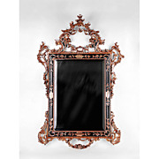 Italian Hand Carved Silver Leaf Mirror With Ebony Highlights