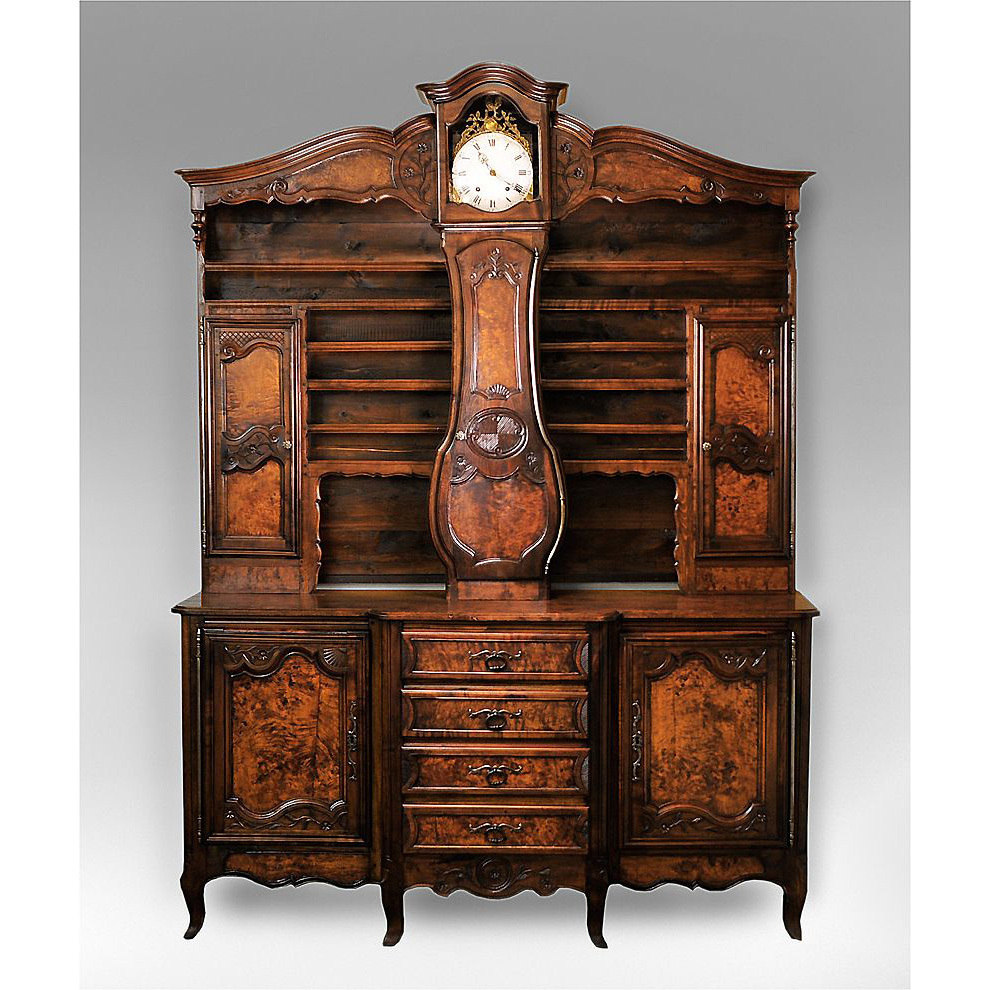 late 19th c french vaisselier with clock from piatik on ruby lane. Black Bedroom Furniture Sets. Home Design Ideas