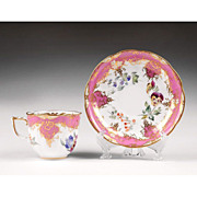 19th C. English Hand Painted Cup and Saucer by Alcock