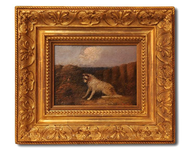 19th c j langlois terrier oil painting antique frame for Framed photos for sale