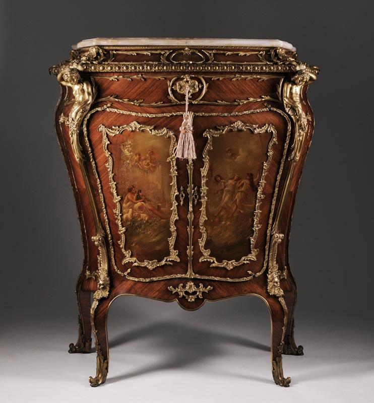Paris Porcelain Hand Decorated Vase Fitted For Lamp Pia: 19th C. Louis XV Kingwood Side Cabinet Fitted With Bronze