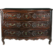 18th C. French Provincial R�gence Oak Carved Commode