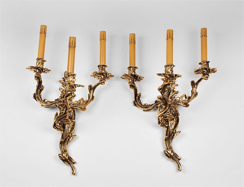 Pr. Of Louis XV Style Cast Brass 3-Light Sconces