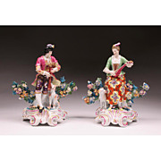 Pair 19th C. Porcelain Chelsea Style Bocage Figures