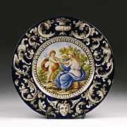 Italian Tin Glazed Hand Painted Majolica Charger