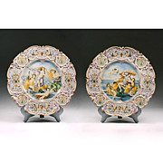 Pr. Vintage Hand Painted Majolica Wall Chargers