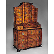South German Bronze Mounted Walnut Parquetry Secretary Cabinet