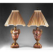 French Napoleon III Sienna Marble Cassolettes With Ormolu Fitted As Lamps
