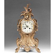 19th C. French Rococo Bronze Mantle Clock