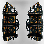 Victorian Gothic Revival Ebonized Corner Brackets or Wall Shelves