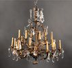 Large 18 Light Crystal Mounted Italian Tole Chandelier