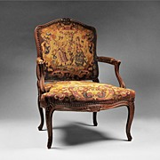 19th C. Louis XV Needlepoint Fauteuil or Armchair