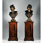 Matching Pair of Ernest Rancoulet 19th C. Bronzes on Pedestals