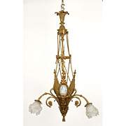 Bronze Flower Basket Shaped Chandelier With Jasperware Plaques