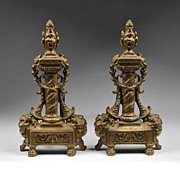 19th C. Pair of French Napoleonic Style Chenets