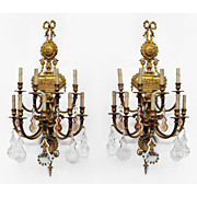 Pr. of Early 20th C. Neo-Classical Bronze Nine-Light Sconces