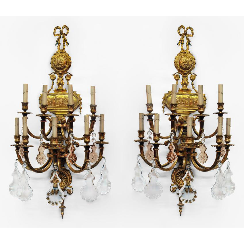 Pr. of Early 20th C. Neo-Classical Bronze Nine-Light Sconces from