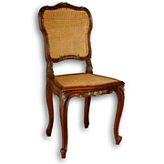 Louis XV Carved Side Chair with Cane Seat and Back