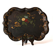 Large Scalloped 19th Century French Hand Painted Tole Tray