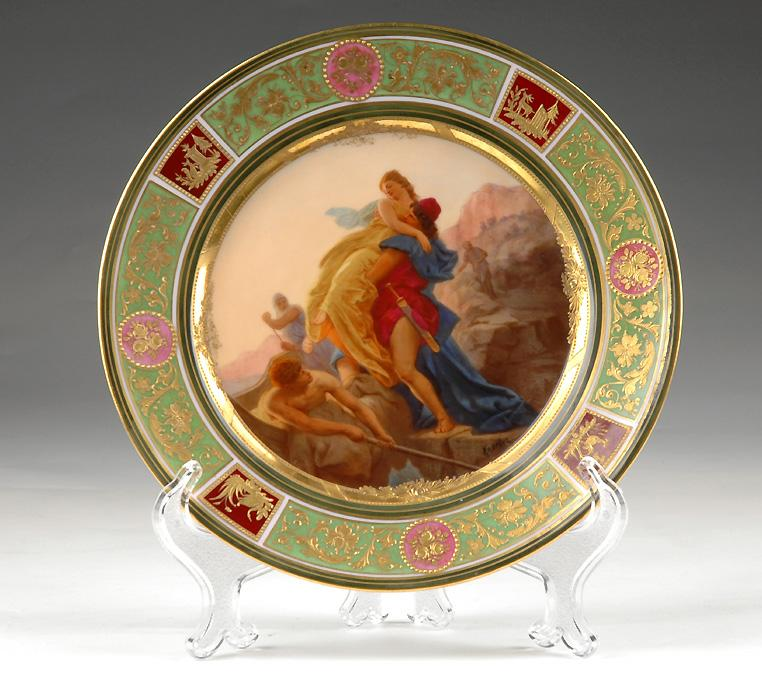 Royal Vienna Style Hand Painted Cabinet Plate, Signed