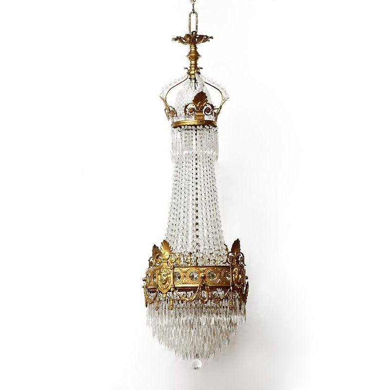 French Empire Bronze And Crystal Chandelier From Piatik On