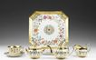 Dartes Freres Paris Porcelain Polygonal Enameled Tea Service