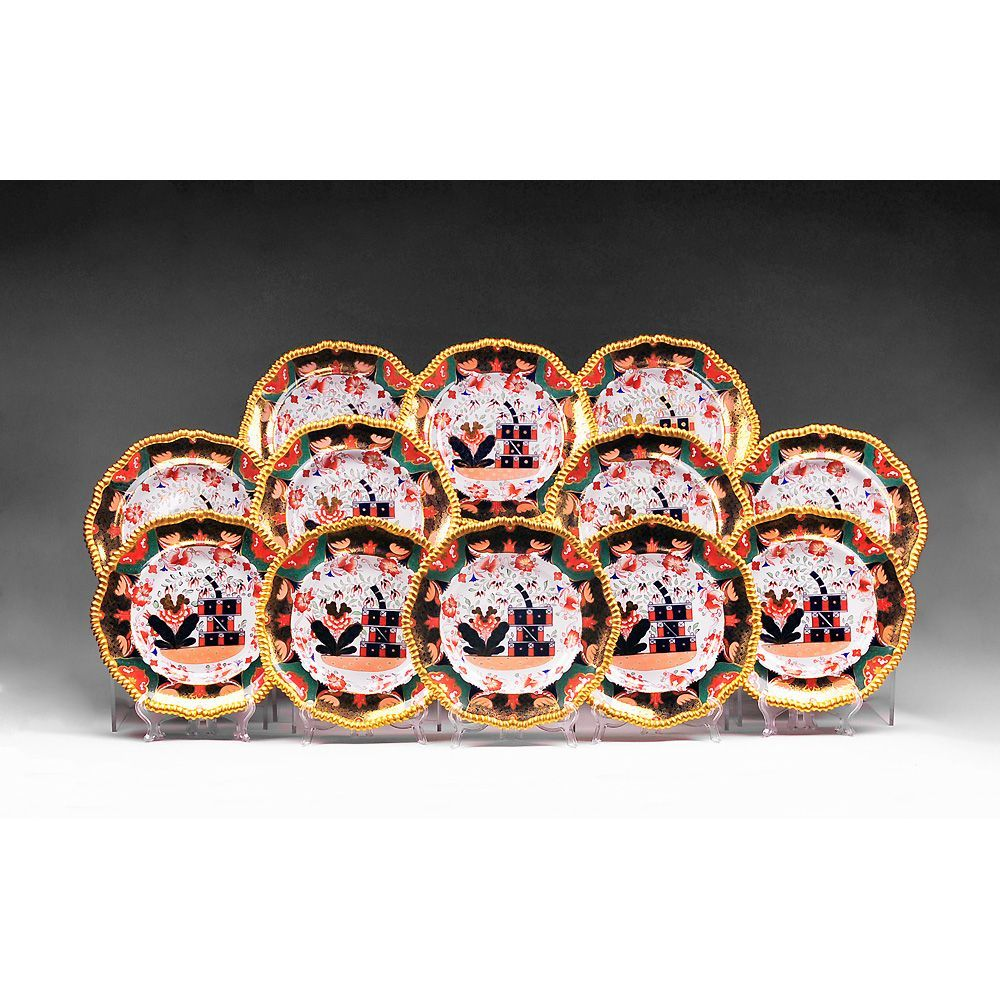 Set of 12 Imari Copeland Spode Plates, Davis Collamore & Co.