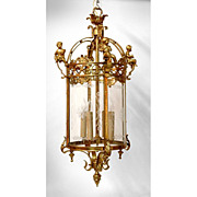 19th C. French Crystal And Bronze Hall Lantern