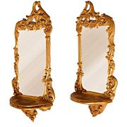 Late 19th C. Gilt Wood Carved Italian Mirror Brackets