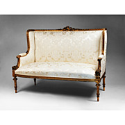 19th C. Louis XVI Giltwood Canape a Confidente or Sofa