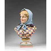 Late 19th C. Continental Glazed Bisque Bust of Girl