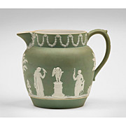19th C. Wedgwood Green Dip Jasper Pitcher With Classical Scenes