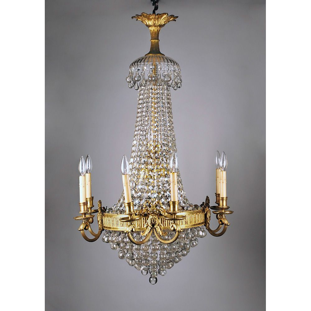 14 Light French Crystal and Bronze Tiered Chandelier