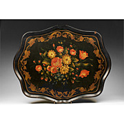 Large 19th C. Papier Mache Painted Tray With Foliate Decoration