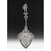 1928 Ornate Dutch Pierced Engraved Silver Serving Spoon